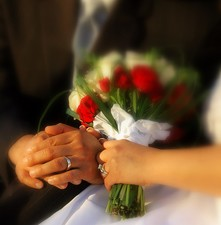 brudepar blomsterbuket